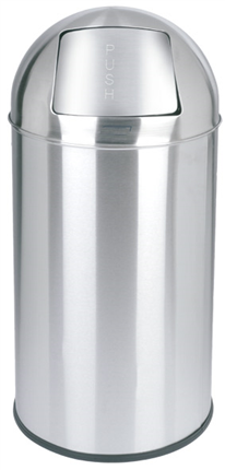 Papelera PUSH 40L INOX BRILLO